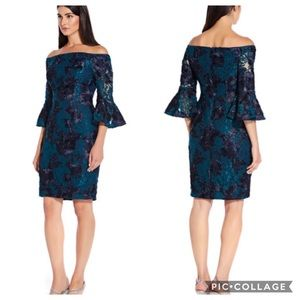 Adrianna-Papell bell sleeves cocktail dress